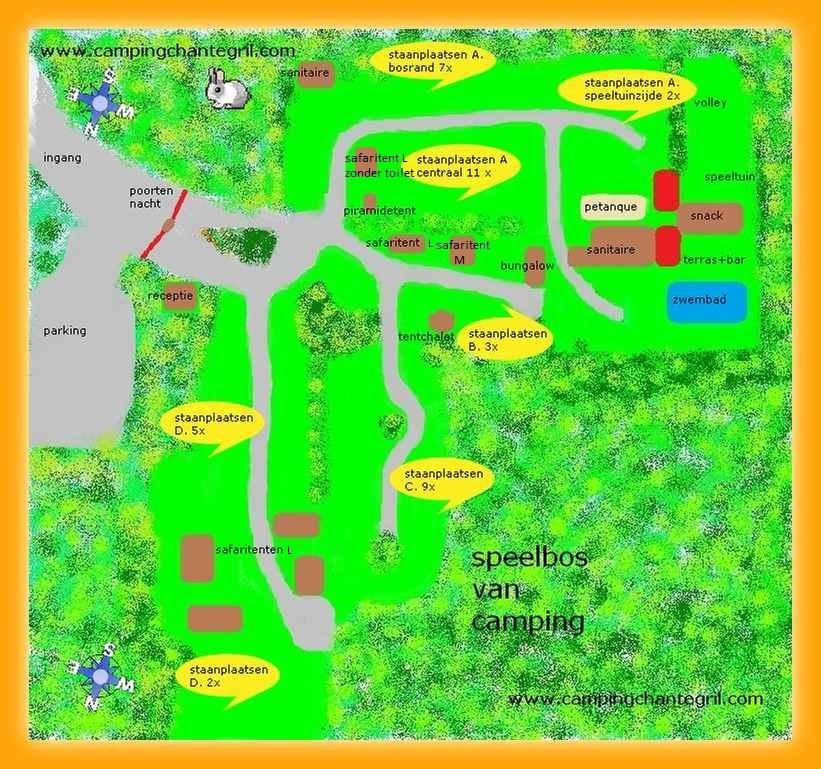 plattegrond camping chantegril in zones ingedeeld