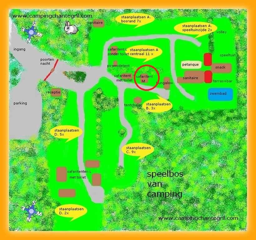 plattegrond met locatie van safaritent M op Camping Chantegril